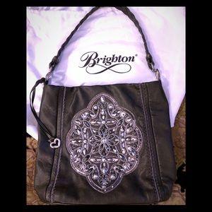 Brighton Anju Pewter Leather Beaded Bucket Bag